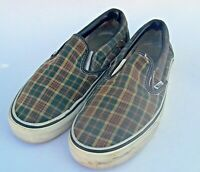 Vans Men's Slip On Sneakers Plaid Boat Shoes Skateboard Off The Wall Size 8.5