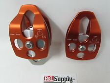"2 Pack 5/8"" Single & 3/4"" Double Pulley Arborist Climbing Rigging 35Kn 7,800Lb"