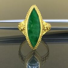 24k 999 Pure Yellow gold Natural untreated Imperial Dark Green Jade Jadeite Ring