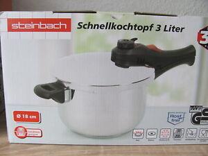 Steinbach Qualitäts Schnellkochtopf 3 Liter Induktion Gas Strom NEU/OVP