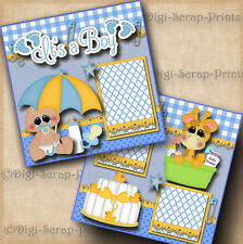 It'S A Boy baby 2 premade scrapbook pages shower paper piecing Digiscrap #A0064