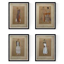 4 POCHOIRS REHAUSSES GOUACHE ART DECO MODE PARISIENNE 1922/33 (1)