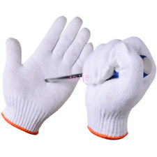 White Cotton Work Gloves Protective Builders Mechanic Construction Glove L