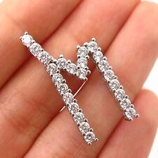 """925 Sterling Silver Swarovski Crystal Letter """"M"""" Initial Design Pendant"""