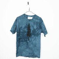 Vintage Tree Big Logo Printed Graphic T Shirt Tee Blue | Medium M