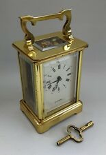 Vintage Brass Carriage Clock 8 Day Fema London Retailed by H Samuel England