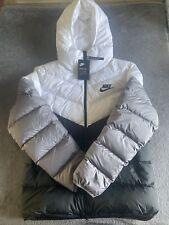 Nike Men's Down Fill Hooded Puffa Jacket Full Zip Short Size L Brand New