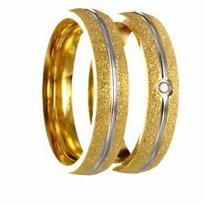 2 Edelstahl bicolor gold / silber Partnerringe Verlobungsringe m. Gravur 40P170