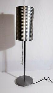 "Goerge KOVACS Grid 28"" Table Lamp Pull Chain Silver Slim 6"" diameter USA Made"