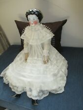 """Antique 1880 White Doll Dress with lot Lace , Sheer Cotton 21 """""""