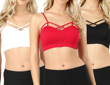 Women Seamless Criss Cross Front Sports Bra Bralette with Removable Pads