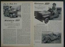 Ww Ii Army Jeep 1945 How-To build Plans Battery powered Ride-On