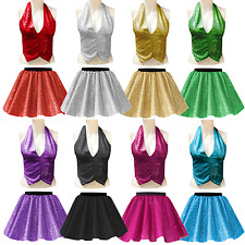 GIRLS SEQUIN Sparkle JAZZ TAP Dance Festival Costume Skirt BACKLESS Waistcoat UK