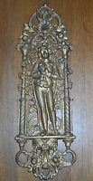 "Gold Painted Cast Iron Decorative Wall Plaque - Man Standing - 20"" x 6 1/2"""