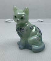 Fenton Iridized Glass Sea Green Satin Hand-Painted Kitten Cat With Butterflies