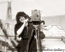 Woman on a Cruise Ship with Moving Picture Camera - c1900 - Historic Photo Print