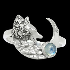 Wolf & Crescent Moon - Rainbow Moonstone - India 925 Silver Ring s.8 Br93485