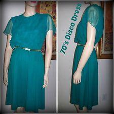 True Vintage 70's Studio 54 Emerald Teal Layered Bodice Accent Women's Dress S/M