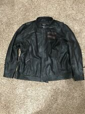 Harley-Davidson Mens 2XL Long Way Winged #1 Wash Black Leather Jacket 98089-15VM