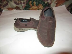 MERRILL MOC WOMEN'S SHOES, SLIP ON,BROWN SUEDE, SIZE 8-1/2, GOOD CONDITION.