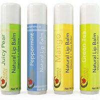 Lip Balm for Dry Cracked Lips 4-Pack Beeswax Vitamin E Shea Butter 100% NATURAL