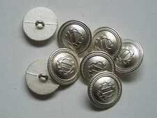 8pc 15mm Greek Inspired Bright Silver Colour Metal military Button  2275