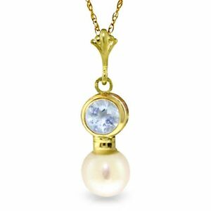 Genuine Aquamarine Cultured Pearl Pendant Necklace 14K.Yellow, White, Rose Gold
