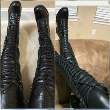 Extra Tall Lace Up Combat Crotch Boots