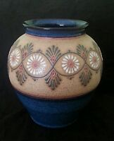 Large stoneware art pottery vase 9 inches, artist signed