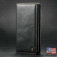Leather Wallet Card Slot Flip Cover Zipper Case for iPhone XS MAX Galaxy Phone