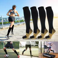 6 Pair Copper Infused Compression Sport Socks 20-30mmHg Graduated Men Women