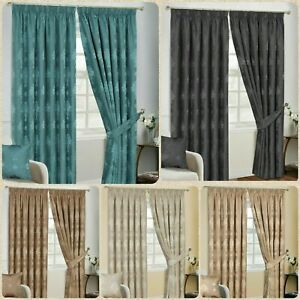 Fully Lined Pencil Pleat Luxury Jacquard Ready-Made Virginia Curtain Pair +Tie