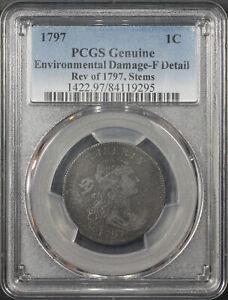 1797 Rev of 1797, Stems, Draped Bust Large Cent PCGS F Details Environ. Damage