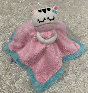Gerber Pink Blue White Sleeping Zebra NuNu Security Blanket Lovey Satin Back