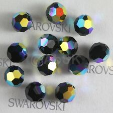 48 pcs Swarovski Element 5000 faceted 5mm Round Ball Beads Crystal Jet AB