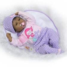 """22"""" Black African American Silicone Vinyl Reborn Baby Doll+clothes+Pacifier"""