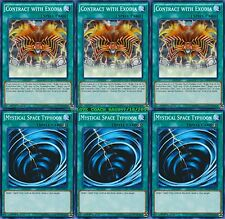 3 X Contract with Exodia + 3 X Mystical Space Typhoon 1st Mint YUGIHO LDK2