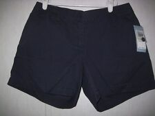 IZOD Womens Shorts Size 4 100% Cotton Navy Flat Front New With Tags