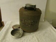 Vintage Picnic Water Jug Clay & Tin Wood Handle.