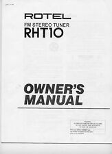 Rotel RHT-10 Tuner Owners Manual