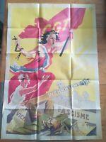 fac similé affiche propagande WW2 CGT CONTRE VIVHY FASCIME 56x80 cm TTBE