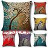 US 3D Painting Flower Tree Linen Cotton Cushion Throw Pillow Case Sofa Decor