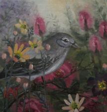 ORIGINAL Oil painting, Bird In The Garden, 6x6 in