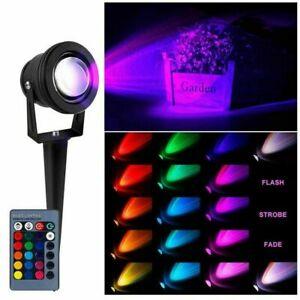 LED Gartenstrahler RGB Fluter m. Gummi Kabel, 230V, Erdspieß, Memory-Funktion DE