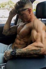 Shirtless Male Beefcake Muscular Body Builder Tattooed Hunk Car PHOTO 4X6 D1225