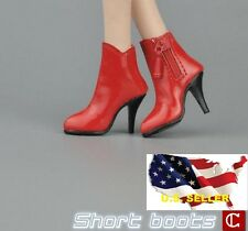1/6 woman short leather Red boots for phicen hot toys verycool kumik body ❶USA❶
