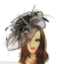 Dark Grey Fascinator Hat for weddings/ascot/proms V2
