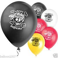 "8 x PIRATE FUN PARTY DECORATION 11"" LATEX HAPPY BIRTHDAY BALLOONS"