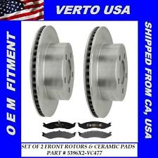 Verto USA Set of 2 Front Disc Brake Rotor & Ceramic Pads - fit Jeep 5396X2-VC477