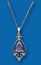 Amethyst Pendant Amethyst Necklace Yellow Gold Amethyst Pendant Victorian Style